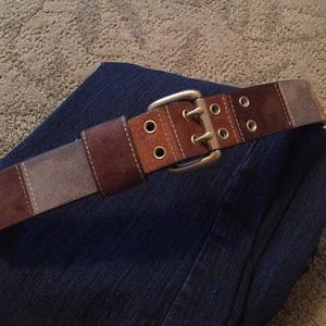 Multicolor suede leather belt double prong buckle